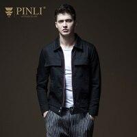 Militar кожаная куртка Pinli продукта для мужчин's однотонная одежда из нового фонда 2018 Осень отверстие с джинсовая куртка B183204150