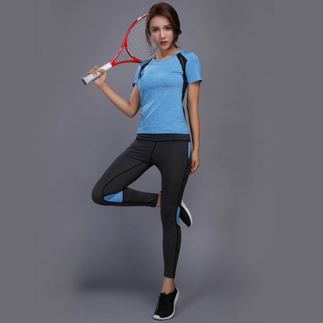 OLOEY Sexy Yoga Set sports wear for women gym TShirt + Pants Breathable Gym Workout Clothes Compressed Yoga Leggings Sport Suit 4