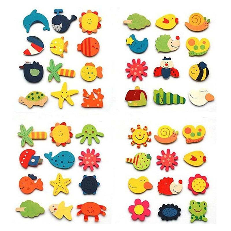1 Pack (12 Stks) Houten Keuken Magneet Stickers Decoratieve Baby Kid Mooie Cartoon Animal Houten Educatief Speelgoed Geschenken Een Plastic Behuizing Is Gecompartimenteerd Voor Veilige Opslag