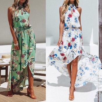 32b4e891d352320 Vetement femme 2019 женское богемное длинное платье макси с цветочным  принтом без рукавов, вечерние летние пляжные сарафаны зеленого и белого  цвета