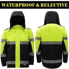 SFVEST HI VIZ VIS STANDARD PARKA WATERPROOF WORKWEAR COAT REFLECTIVE SECURITY PROTECTION JACKET FREE POST