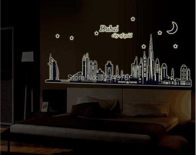 Dubai City Of Gold Glow In The Dark Bedroom Sofa TV Background Room Wall Decor Luminous