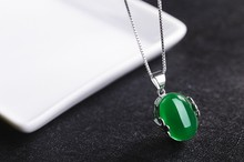 Luxury Jewelry Girls Lady's Sterling Silver women gift Natural GREEN Stone Chalcedony Korean gem  Fine Pendant Chain
