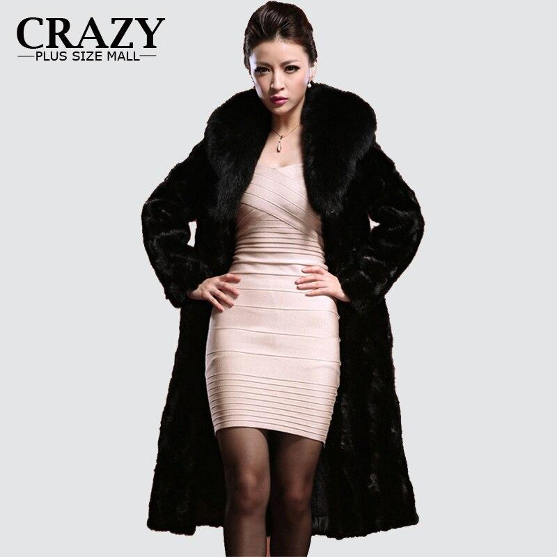 4572f76515a F1008 2018 Plus Size 6XL XXXL 4XL 5XL Winter Warm Full Length Faux Fur Coats  With Fur Collar Vintage Fake Mink Fur Coats Women-in Faux Fur from Women s  ...