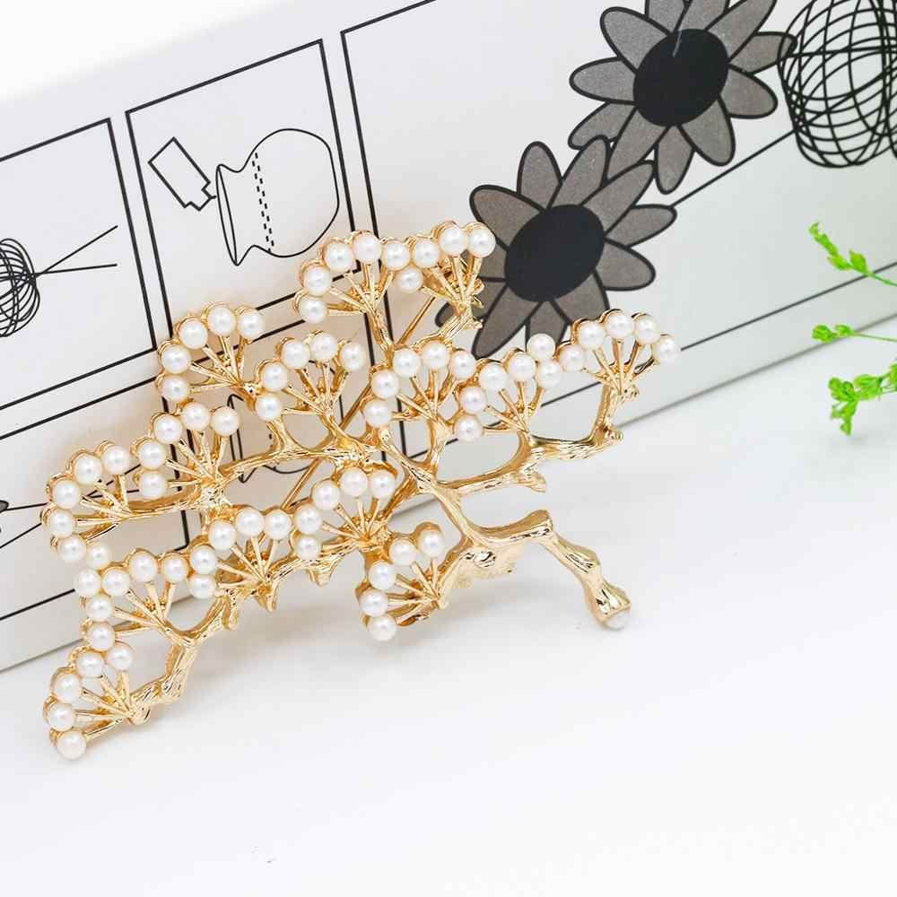 الحجر الطبيعي بروش قلادة اكسسوارات ريترو شجرة تصميم تقليد اللؤلؤ دبوس دبابيس مجوهرات للنساء والرجال