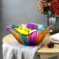 Houseware Beautiful and stylish stained glass fruit plate Unique Decoration shape storage tray Crystal glass dried fruit Gift