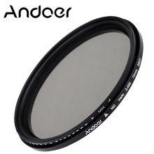 Filtro atenuador ND de densidad neutra ajustable Andoer 72mm ND2 a ND400 filtro Variable para cámaras Canon Nikon DSLR