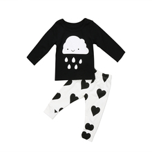 Pudcoco 0-18M Rain Drop Newborn Toddler Baby Boys Long Sleeve Cloud T-shirt Tops + Heart Pants Outfits Set Casual Clothes 0-24M