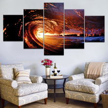 Canvas Pictures Living Room HD Prints Paintings Home Decoration Framework 5 Pieces Red Sunset Sea Waves Seascape Poster Wall Art