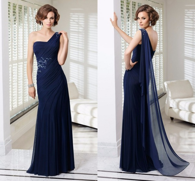 women dress Plus size evening dress purple Navy Blue One shoulder ...