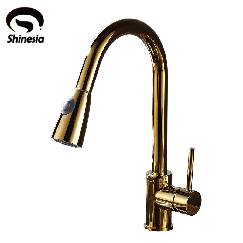 Luxury High Quality Golden Solid Brass Pull Down Kitchen Sink Faucet Single Handle Countertop Mixer Tap