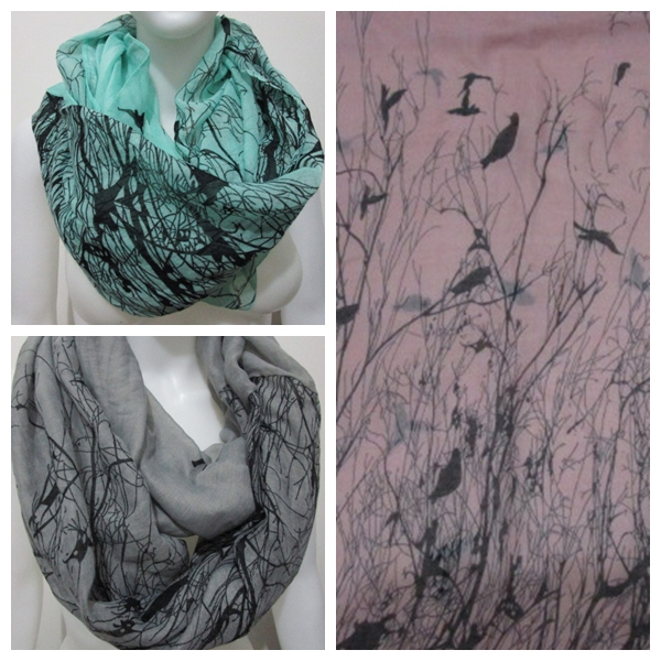 Free Shipping 2018 New Fashion Winter Grey Blue Pink Bird On Trees Bird Scarf Infinity Scarfs Loop Snood For Woman/Ladies
