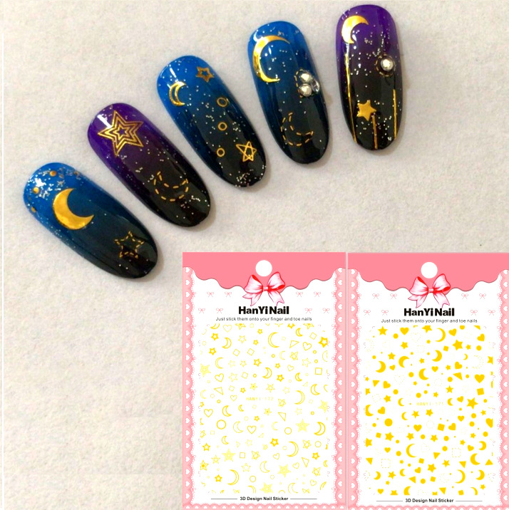 3 sheet 3D Nail Stickers Designs Ultrathin Gold Star moon Gummed 3D Nail  Art Stickers Decals 2e1c18b3ecf8