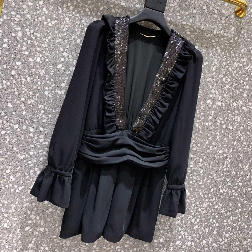2019 spring and summer new sequined lace jumpsuit Slim long sleeve sexy v neck 0314