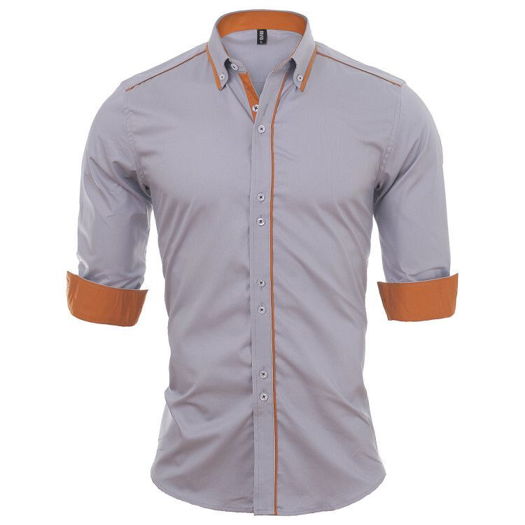 HTB1Fuh4XUGF3KVjSZFoq6zmpFXaU - VISADA JAUNA European Size Men's Shirt New 100% Cotton Slim Business Casual Brand Clothing Long Sleeve Chemise Homme N356