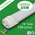 Free Shipping 10pcs/lot  Factory Wholesale 25W T8 1500mm Warranty 3 Years 85-265V 50000H Lifespan Super Bright T8 LED Light Tube
