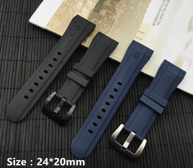 Luxury Blue Black 24mm*20mm at buckle Silicone Rubber watchband For Graham strap Racing Bent Watch band Bracelet buckle logo on
