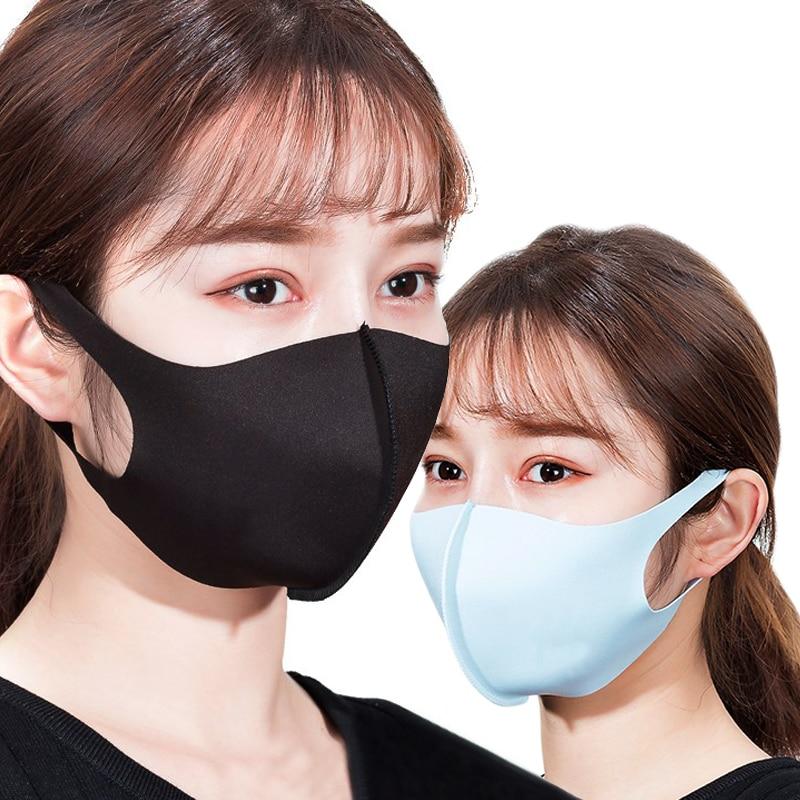 Ausdrucksvoll Solide Ice Silk Dünne 3d Waschbar Atmungsaktive Sommer 1 Stück Gesicht Maske Dreidimensionale Unisex Sonne Block Staub Proof Maske Bekleidung Zubehör
