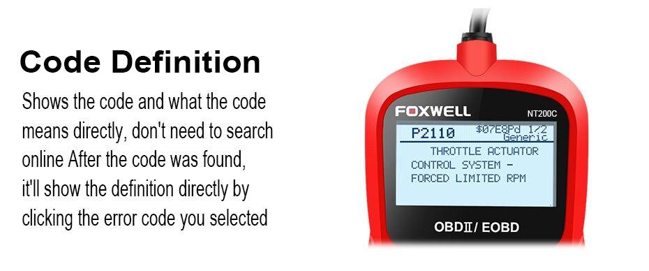 R$ 169 14  FOXWELL NT200C OBD2 Scanner Automotive in Russian OBDII EOBD  Engine Check Fault Code Reader obd 2 Car Auto Diagnostic Scan Tool em