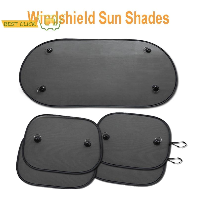 5pcs Car Sun Shade Sunshade Side Front Rear Window Sunshades Cover Mesh Visor Shield Screen Film Block UV protection kids Travel