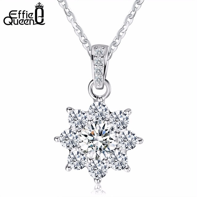 Effie queen genuine 925 sterling silver necklace snowflake crystal effie queen genuine 925 sterling silver necklace snowflake crystal cz pendants gift for women wedding party aloadofball Image collections