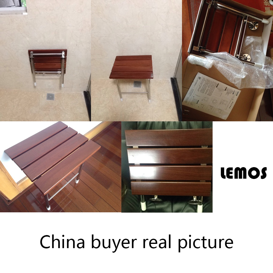 wall chair wall seat Solid wood folding shower seat spacing saving ...