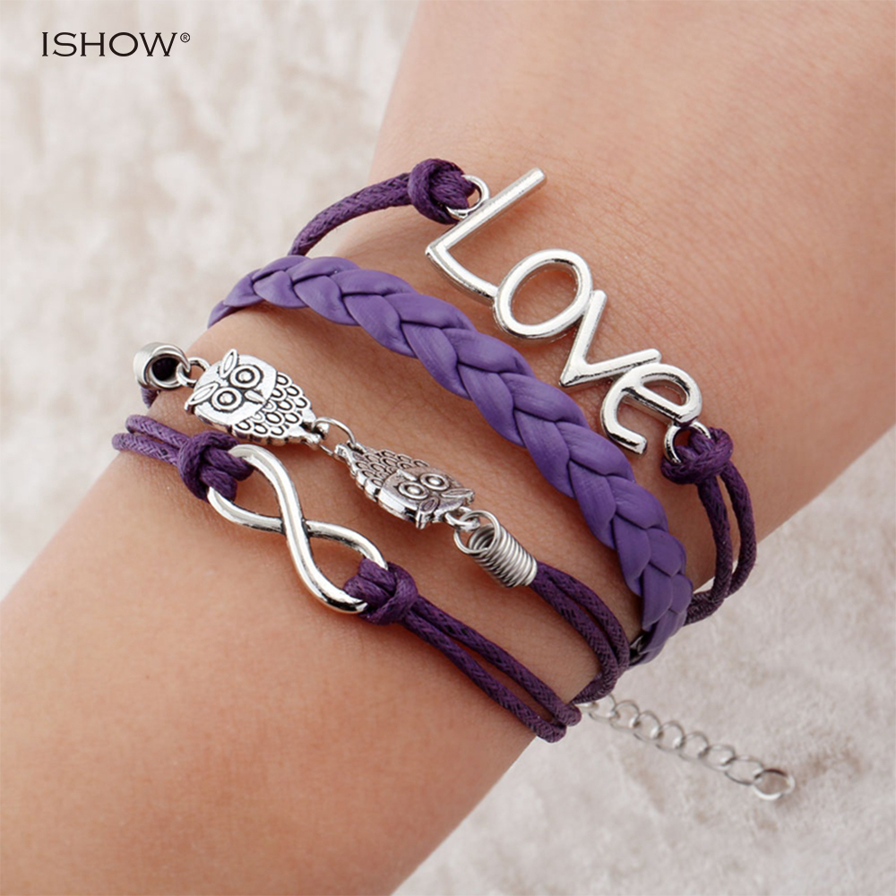 Fashion leather bracelet for men armband mannen wrap bracelet armbanden voor vrouwen owl love bracelets pulseras mujer 2016
