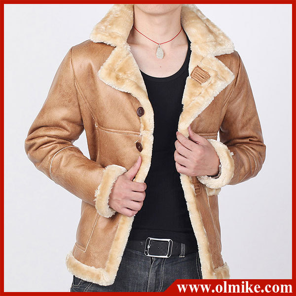 New Mens 2014 Winter Faux Shearling SHEEPSKIN Suede Leather Jacket ...