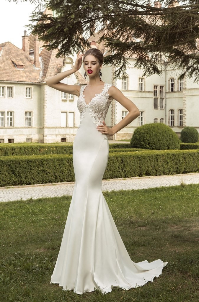 2015 New Arrival Floor Length v-neck Bridal Dresse...