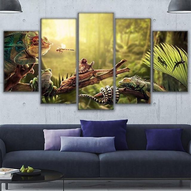 Canvas Wall Art Home Decor Prints Poster 5 Pieces Iguana Snail Gecko Reptiles Snake Painting Peaceful & Canvas Wall Art Home Decor Prints Poster 5 Pieces Iguana Snail Gecko ...