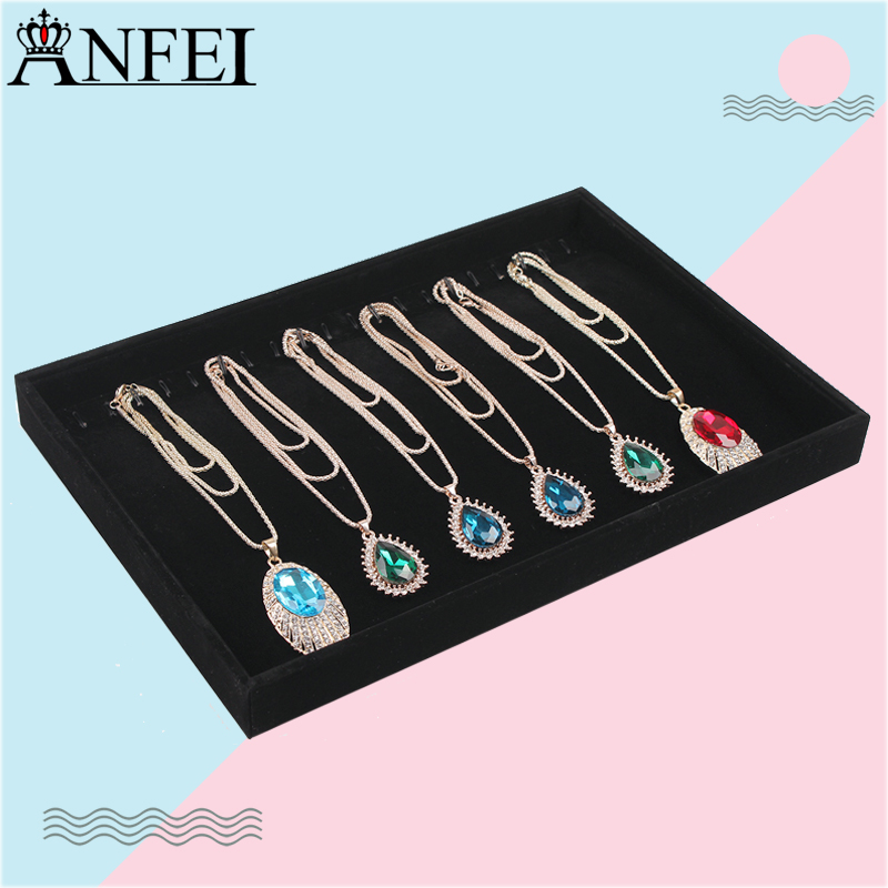 Free Shipping Black Velvet Necklace Display Tray Jewelry Accessories Case Necklace Pendants Plate Jewelry Organizer Box