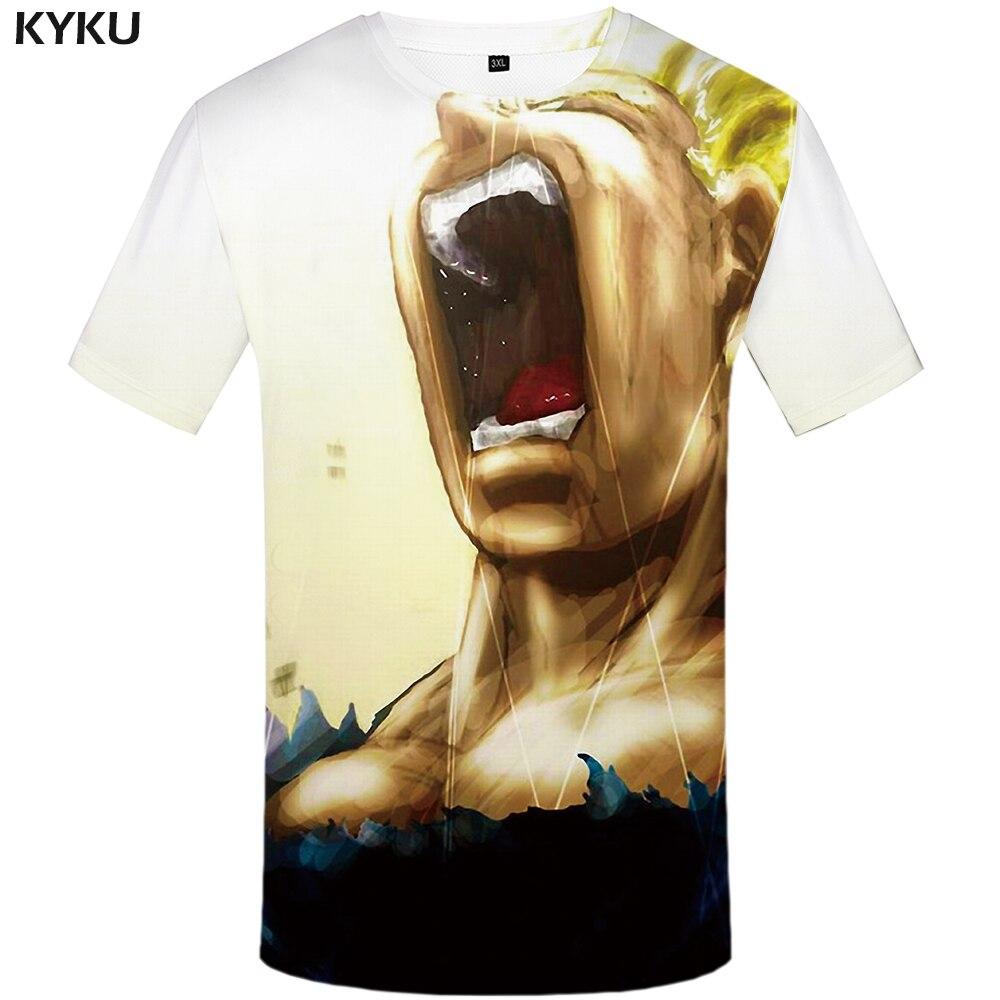 KYKU Dragon Ball Z T shirt Goku shirts Yellow Hair Tops Roar Tshirt Tees Clothes Men Short Sleeve Sexy Slim O-Neck