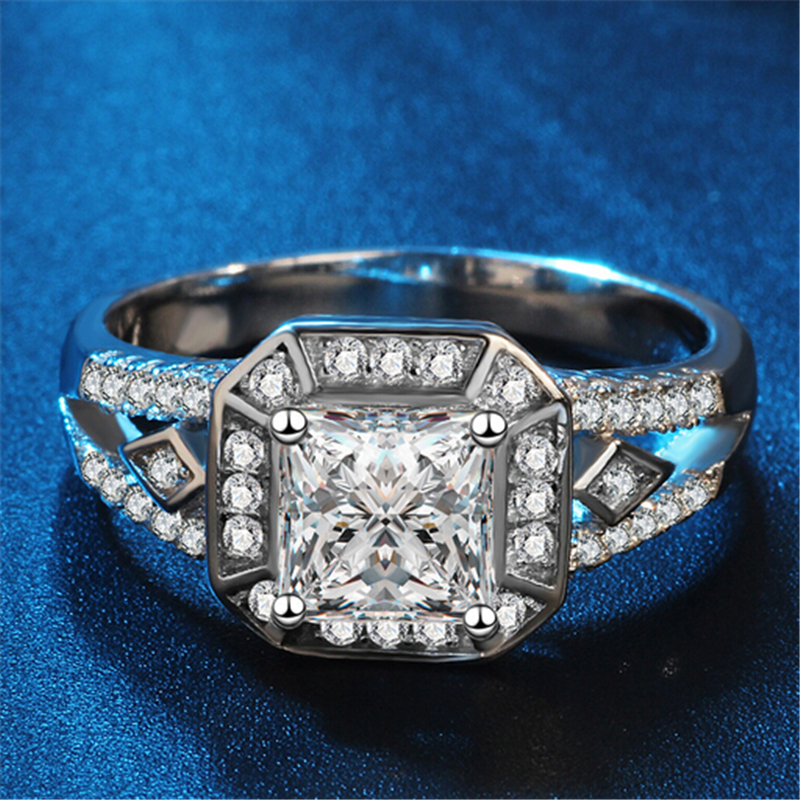 ZOSHI Luxury Brand Fashion Silver Bridal Ring for Women with Paved Micro Zircon Crystal Wedding Jewelry