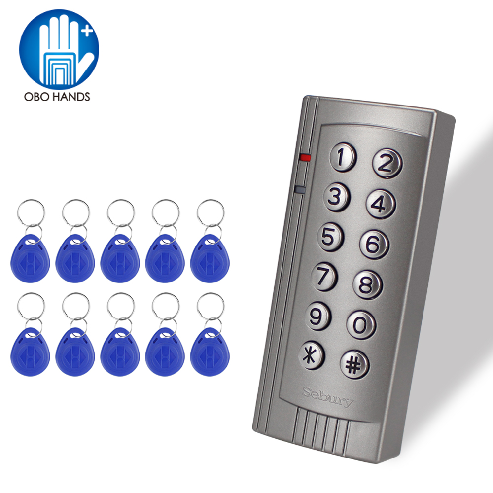 RFID Standalone Access Controller EM 125KHz Card Reader Electric Password Lock With 10pcs ABS Keychain For Access Control System high quality rfid 125khz access control reader door lock control device 2 color led indicators with em ic card