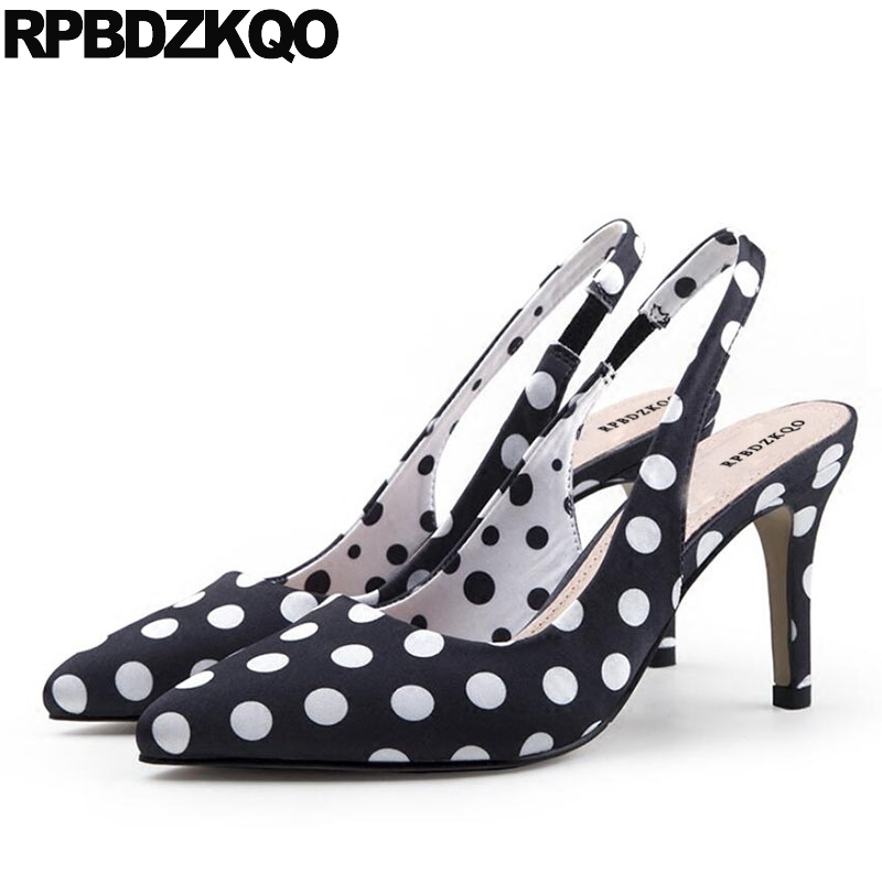 11 43 10 42 Size 33 Low Heels Women Thin Satin Shoes Pumps Polka Dot Green Plus Big Strap 8cm High Slingback Pointed Toe Dress
