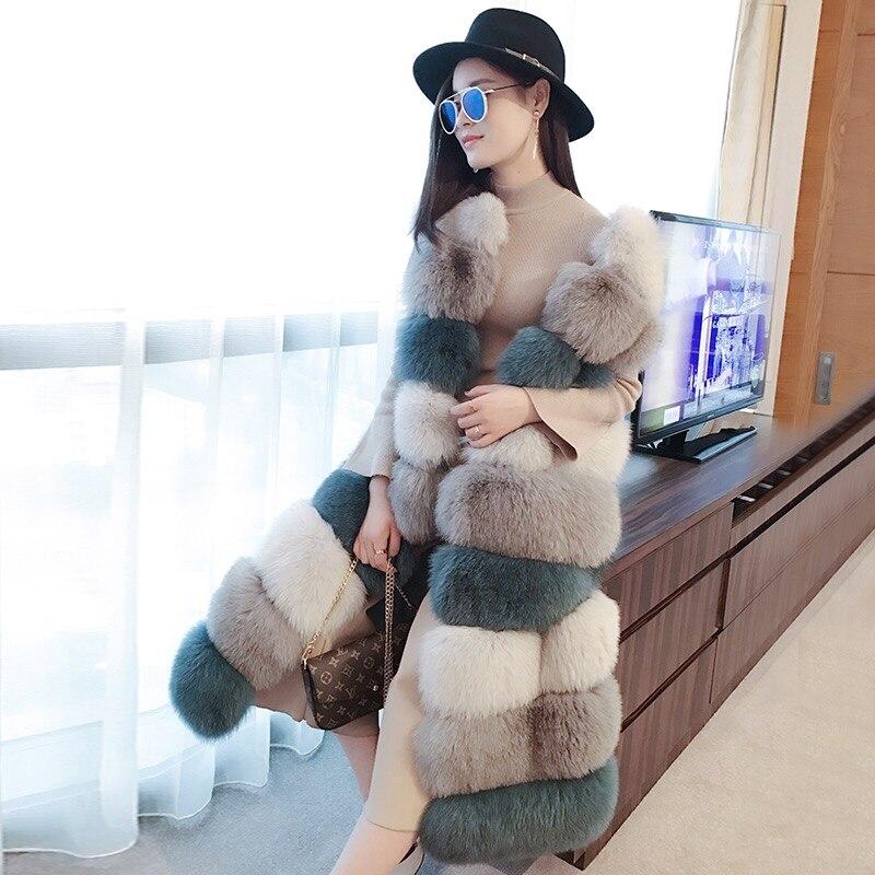 Real Natural Fur Vest Womens Winter Genuine Fox Fur Leather Jacket Long Overcoat Girl Ladies Multi Color Real Fox Fur Vest Coat