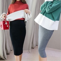 Spring Autumn Korean Fashion Maternity Belly Skirts Woolen Knitted Stretch A Line Skirts Bottom for Pregnant Women