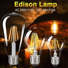 TSLEEN E27 Retro Vintage LED Edison Bulb LED Lamp G45 A60 ST64 Filament Light AC 110V 220V COB Candle Light Lamp  4W 8W 12W 16W