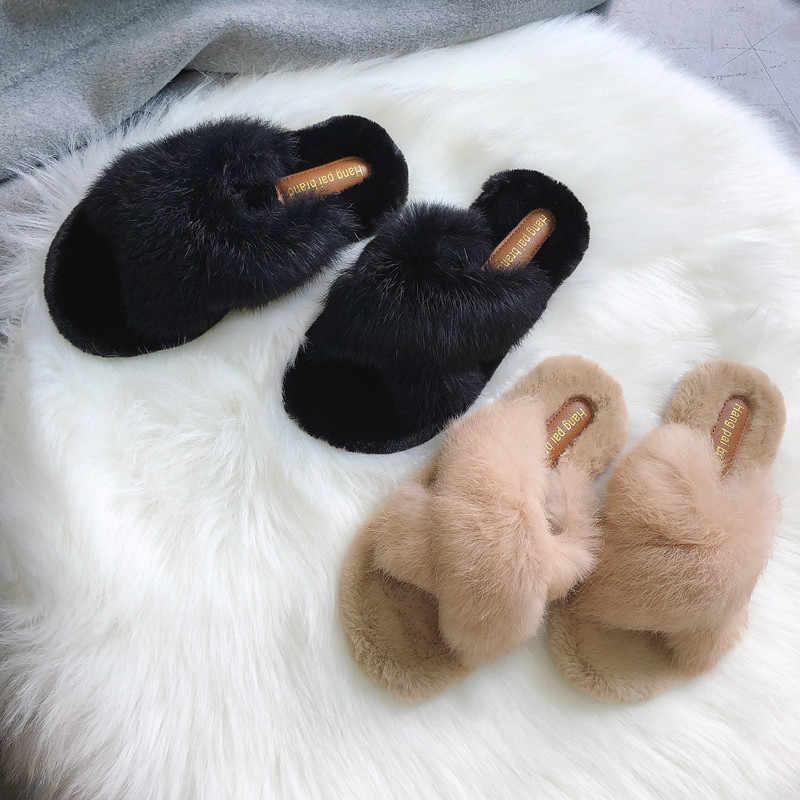 Pistoni delle donne Scarpe Invernali Piatto Dolce Casa Pantofole Donna Scarpe Indoor di Pelliccia Del Faux Caldo Morbido Slip On Nero Beige Femminile pantofola