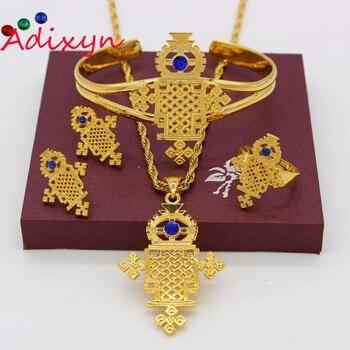 Adixyn cruz etíope conjunto de joyería tradicional collar/colgante/pendientes/anillo/brazalete Color oro cristal Eritrea regalos de fiesta
