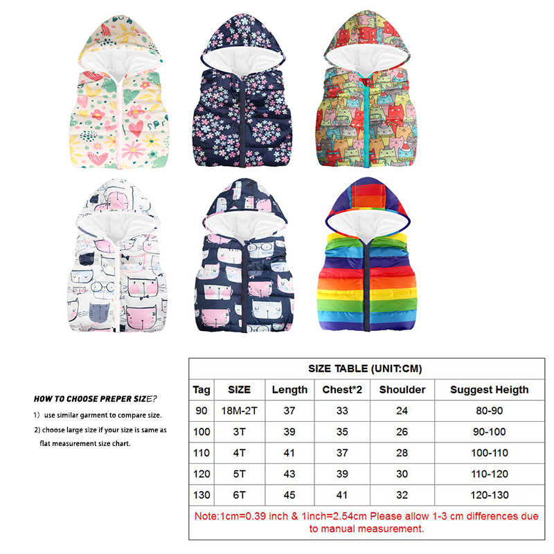 Жилеты для девочек 2019 на весну и зиму куртка-жилет с капюшоном пальто, одежда для девочек, жилет с рисунком для малышей, Детская верхняя одежда детская одежда пальто