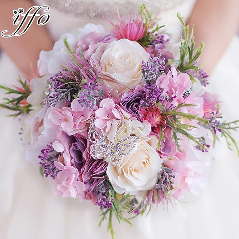 Nouveau beau Bouquet de mariage Rose violet tout fait à la main fleur de mariée artificielle hortensia pivoine Rose papillon broche Bouquets