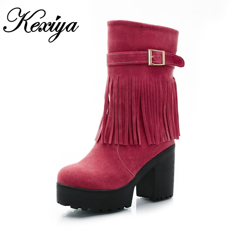 2015 New Fashion Round Toe winter women shoes Retro Platform high heel boots big size 33-43 Slip-On Mid-Calf Tassel boots HLE-Q3 new fashion winter boots wool flock shoes women boots platform thick high heels mid calf boots two swear big size 34 43 0715