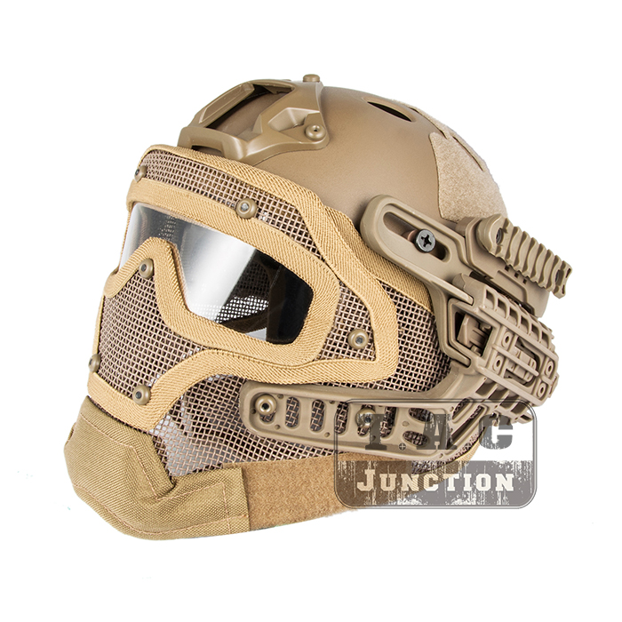Tactical Airsoft FAST PJ Advanced Adjustment Protective Multi-function G4 Full Facial Armor System Combat Helmet w/ Goggle Mask