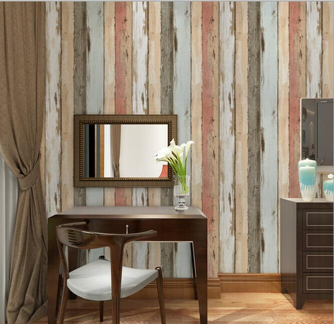 ФОТО Mediterranean antique wood stripe wallpaper for coffee shop living room study room