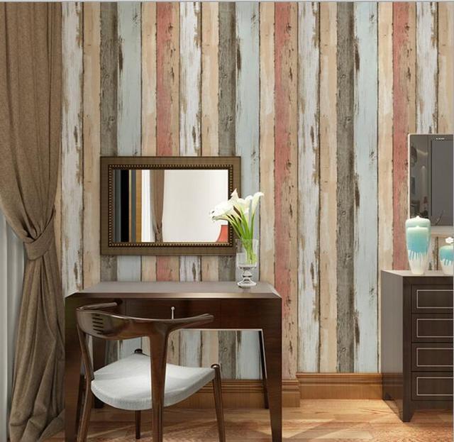 Mittelmeer Antikem Holz Streifen Tapete Fur Cafe Wohnzimmer