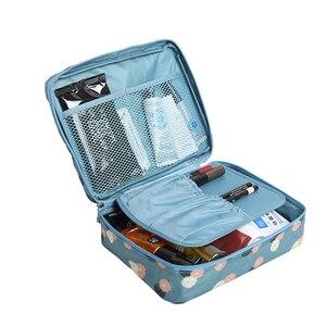 Image 4 - Mode voyage Nylon beauté maquillage sacs imperméable à leau cosmétiques sacs salle de bain organisateur de femmes Portable bain crochet lavage sac