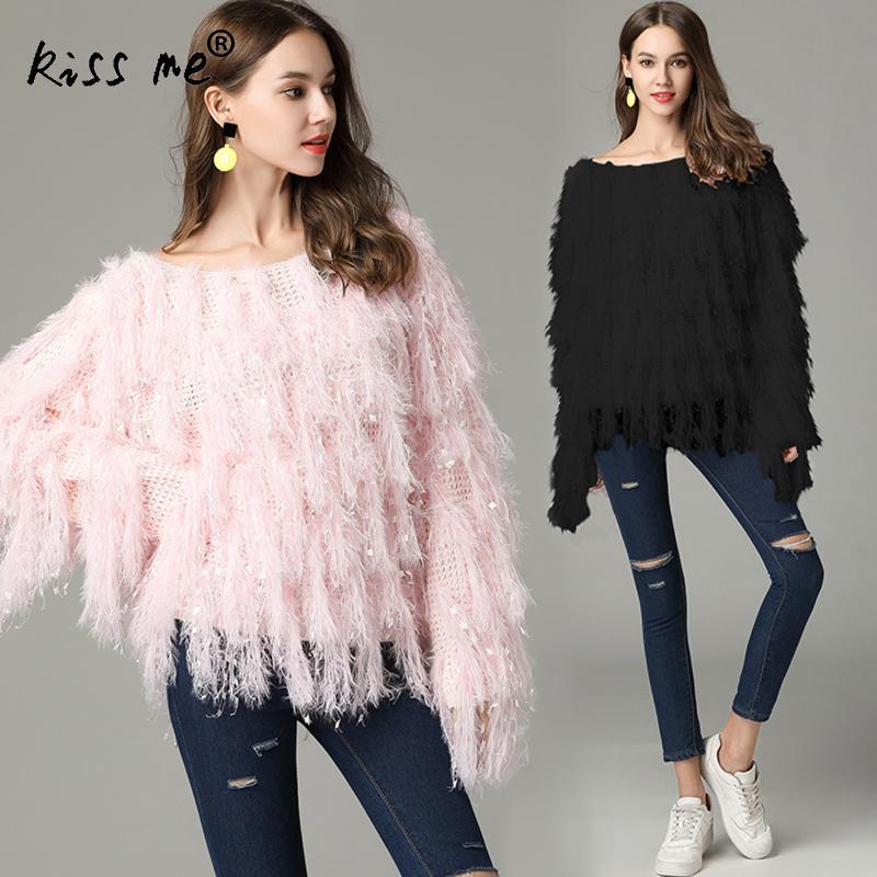 Kiss Me Pullover Autumn Women Sweaters Series Winter Tassel Knitted Mink Fur Shaggy Yarn Jumper Femme Pink Fashion Sweater 2018