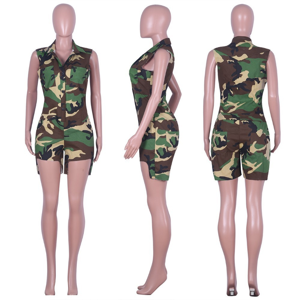 Women Camouflage Jumpsuits and Rompers Ruffle Sleeveless Short Overalls with Pockets Casual Summer Loose Fit Rompers