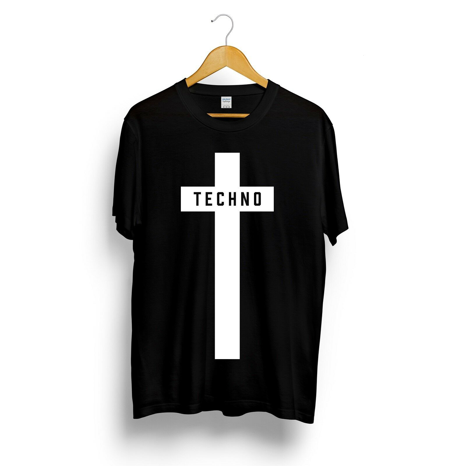Techno Cross Printed T-shirt Mens Womens Unisex Music Festival Black Detroit Tee Top Summer Streetwear Camiseta Masculina